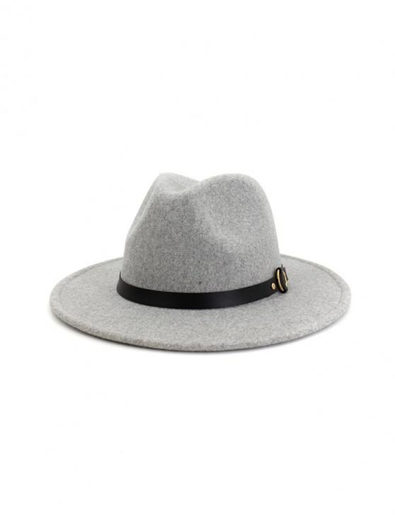 fashion Buckle Belt Flat Brim Jazz Hat - LIGHT GRAY