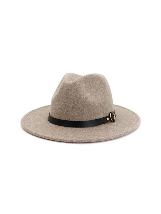 chic Buckle Belt Flat Brim Jazz Hat - WARM WHITE