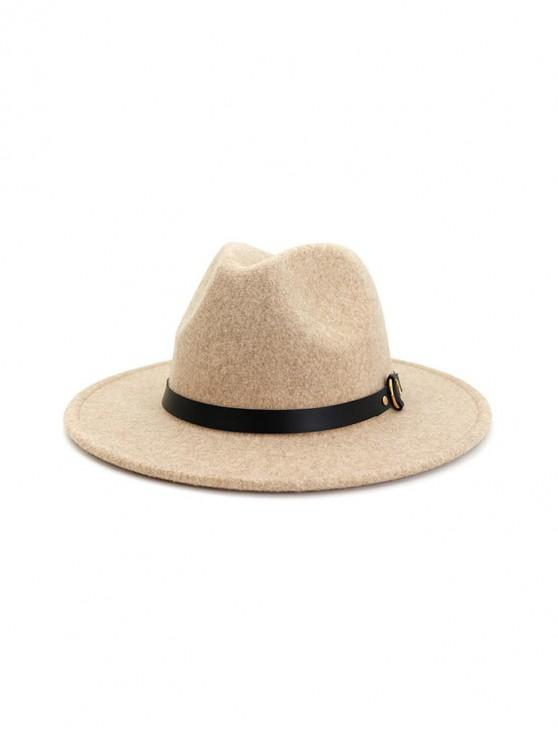 fancy Buckle Belt Flat Brim Jazz Hat - BEIGE