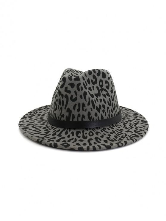 sale Leopard Print Felt Jazz Hat - GRAY