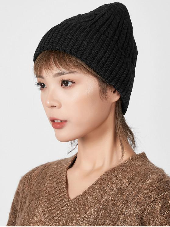 womens Rhombic Pattern Winter Knitted Hat - BLACK