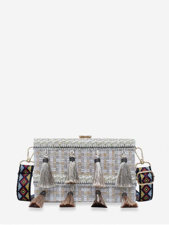 women Ethnic Plaid Tassel Square Shoulder Bag - GRAY