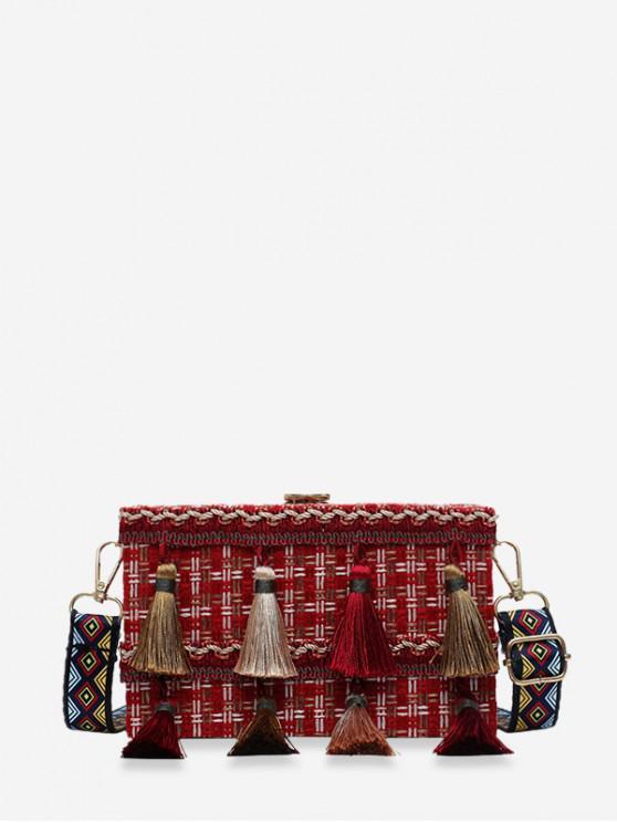 women's Ethnic Plaid Tassel Square Shoulder Bag - RED
