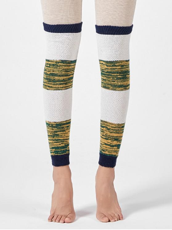 outfit Striped Knitted Over Knee Sleeve Socks - GREEN APPLE