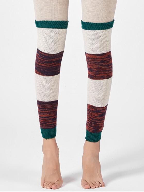 outfits Striped Knitted Over Knee Sleeve Socks - GREEN