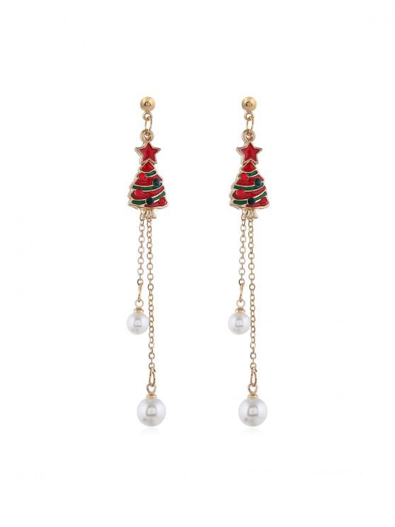 chic Christmas Tree Faux Pearl Tassel Earrings - GOLD CHRISTMAS TREE