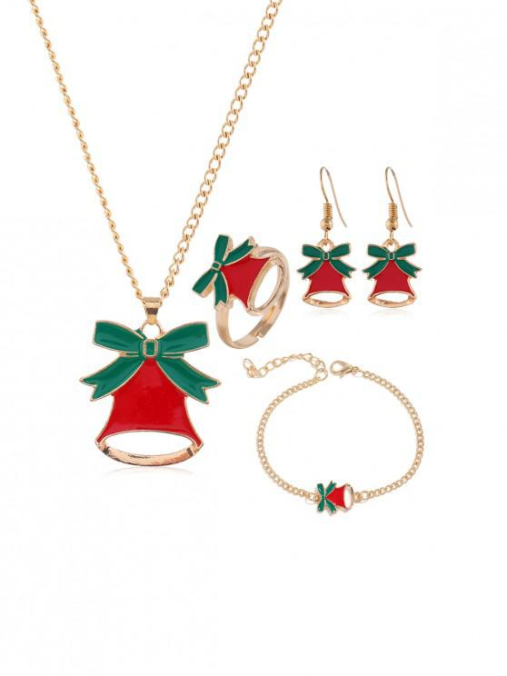 fancy Christmas Tree Elk Glazed Jewelry Suit - GOLD JINGLING BELL