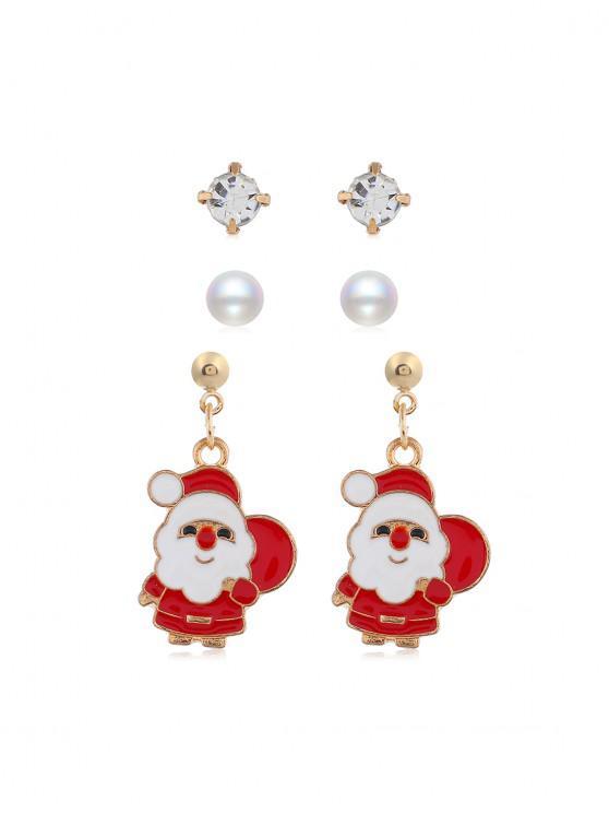 3,對聖誕節的仿珍珠耳環套裝 - 金 聖誕老人