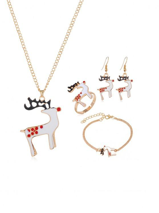 buy Christmas Tree Elk Glazed Jewelry Suit - GOLD DAVID'S DEER