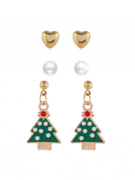 women's 3 Pairs Christmas Faux Pearl Earrings Set - GOLD CHRISTMASTREE