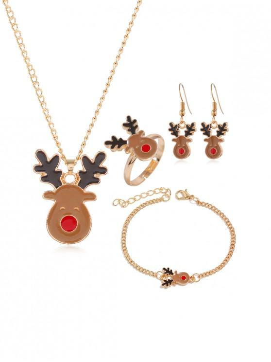 lady Christmas Tree Elk Glazed Jewelry Suit - GOLD HIRSCH
