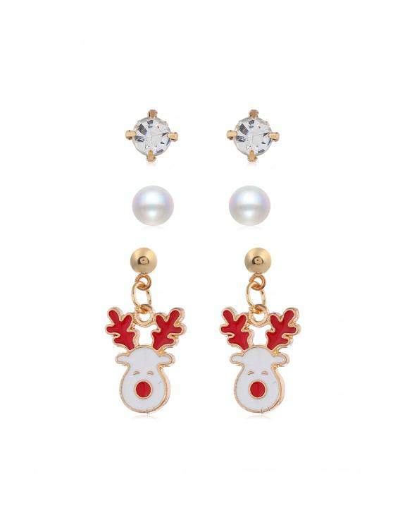 hot 3 Pairs Christmas Faux Pearl Earrings Set - GOLD CHRISTMAS DEER