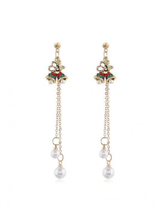 shop Christmas Tree Faux Pearl Tassel Earrings - GOLD SMALL BELL