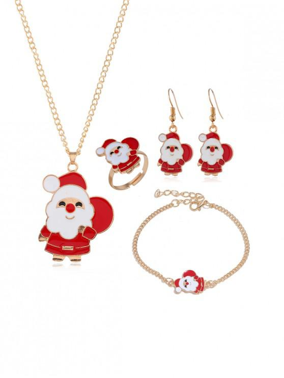 shops Christmas Tree Elk Glazed Jewelry Suit - GOLD SANTA CLAUS