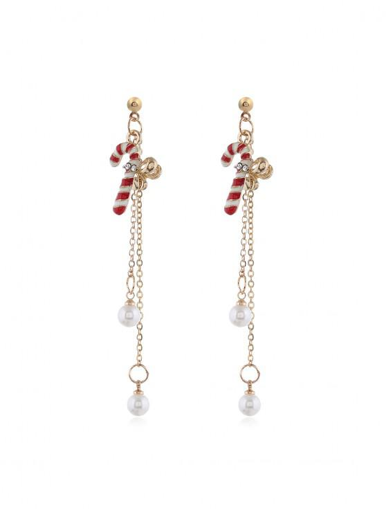 trendy Christmas Tree Faux Pearl Tassel Earrings - GOLD STICK