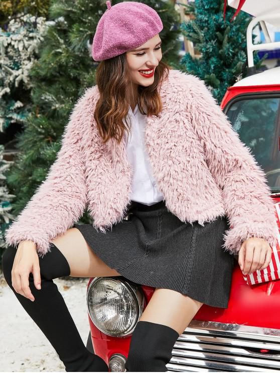 outfit ZAFUL Faux Shearling Open Fluffy Coat - LIPSTICK PINK S