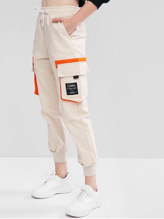 womens Drawstring Slogan Patched Flap Pockets Jogger Pants - TAN L