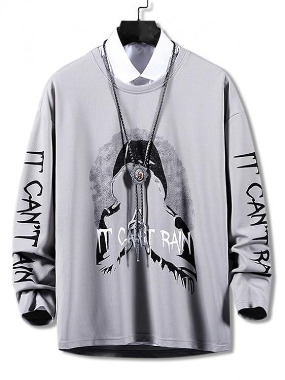 women's Hooded Character Letter Graphic Print Casual Sweatshirt - BATTLESHIP GRAY S