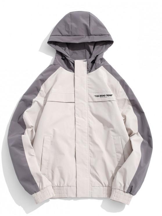 Carta de impresión en color de bloqueo de la chaqueta con capucha de empalme - Blanco Antiguo L