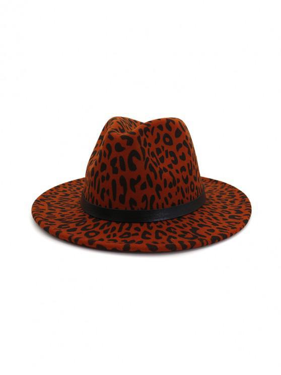 fashion Leopard Print Felt Jazz Hat - RED WINE