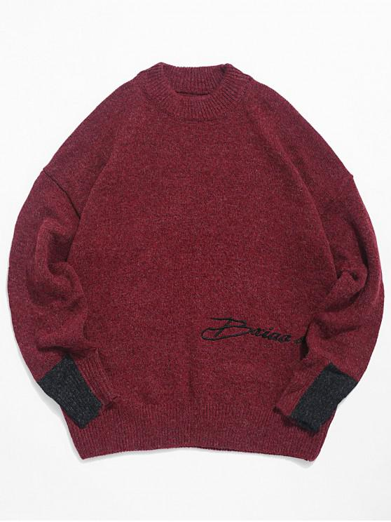 new Casual Letter Pattern Colorblock Sweater - RED M