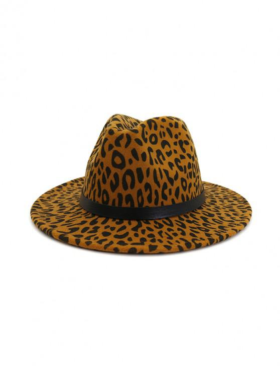 Estampado leopardo de fieltro Jazz Sombrero - Caqui