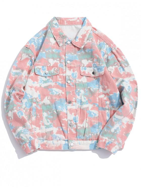 Camo Imprimir Button Up Jacket Casual - Rosa 3XL