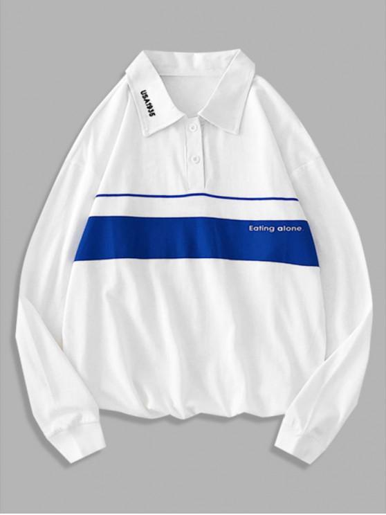 shops Letter Printed Color Spliced Long-sleeved T-shirt - WHITE L