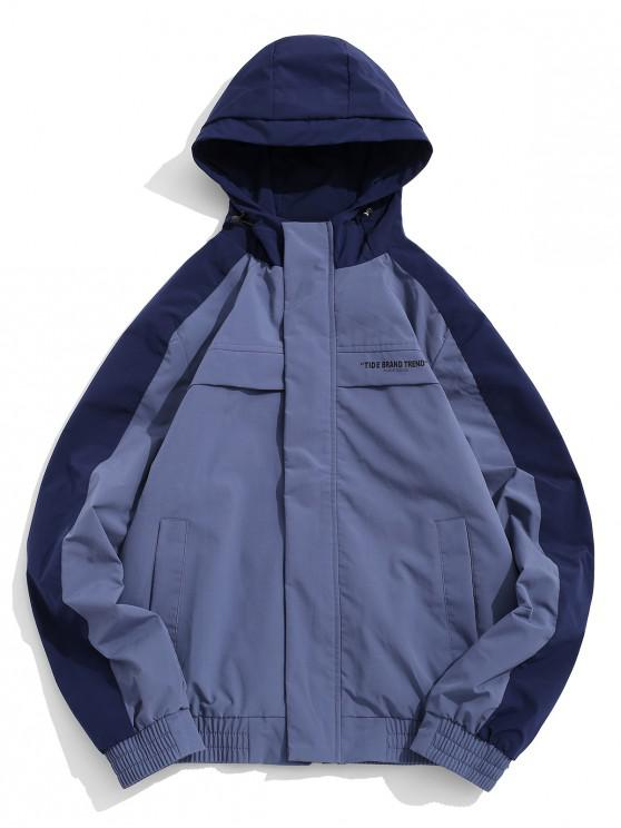 Carta de impresión en color de bloqueo de la chaqueta con capucha de empalme - Lapislázuli XS