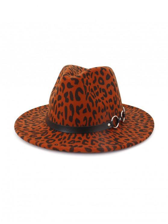 Leopard Patrón de invierno plana de ala del sombrero del jazz - Vino Tinto