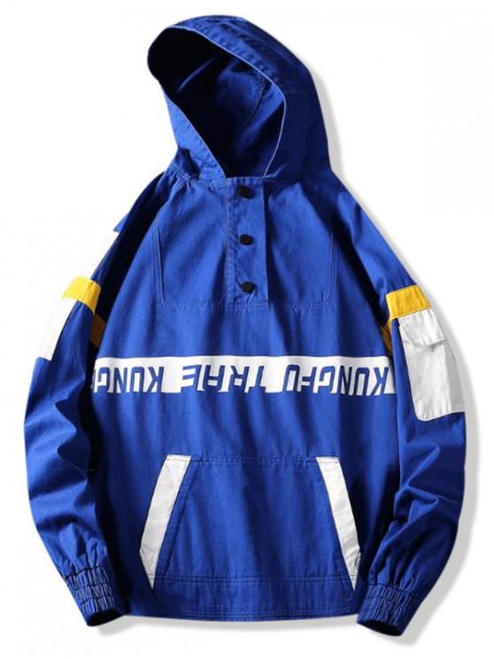 fancy Letter Print Colorblock Raglan Sleeve Pullover Hooded Jacket - BLUEBERRY BLUE XL