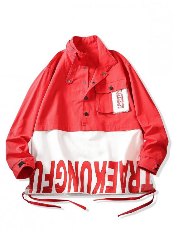 lady Color Blocking Splicing Letter Print Pullover Jacket - LAVA RED 2XL