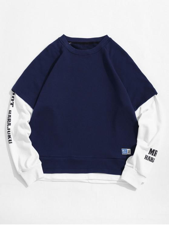 outfits Faux Two Pieces Letter Print Long-sleeved T-shirt - CADETBLUE L