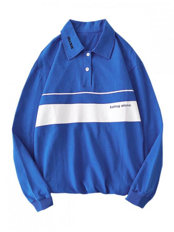 shops Letter Printed Color Spliced Long-sleeved T-shirt - BLUE S