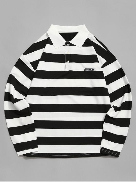 chic Colorblock Stripes Long Sleeve Casual T-shirt - BLACK L