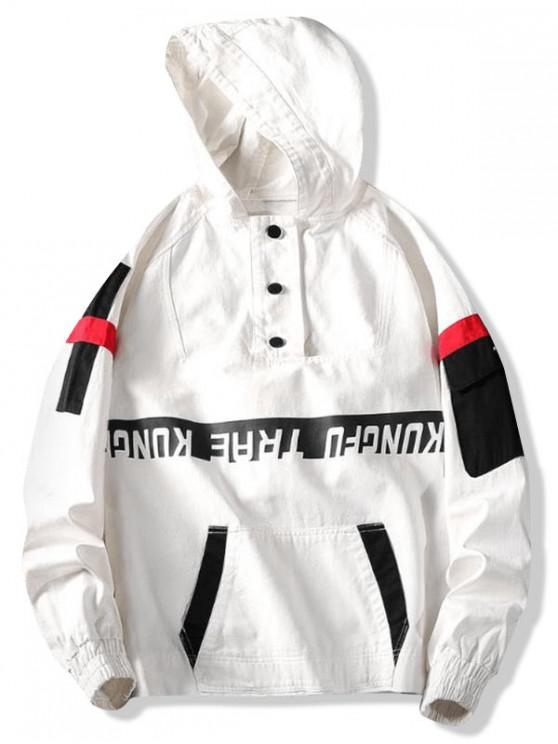 fancy Letter Print Colorblock Raglan Sleeve Pullover Hooded Jacket - WHITE 3XL