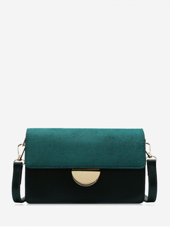 fancy Simple Semicircle Buckle Square Crossbody Bag - DEEP GREEN