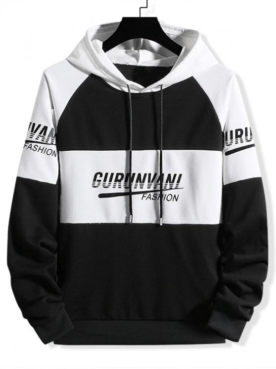 buy Colorblock Spliced Letter Graphic Drawstring Hoodie - BLACK 3XL