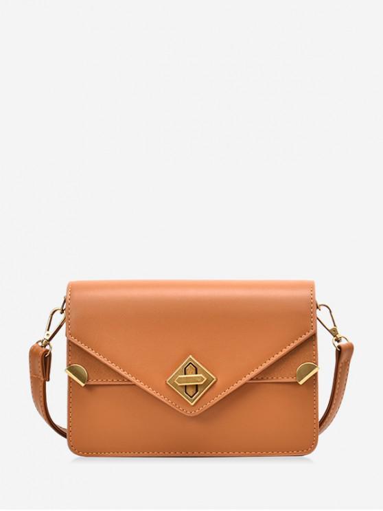 fancy Hasp PU Leather Envelope Crossbody Bag - BROWN