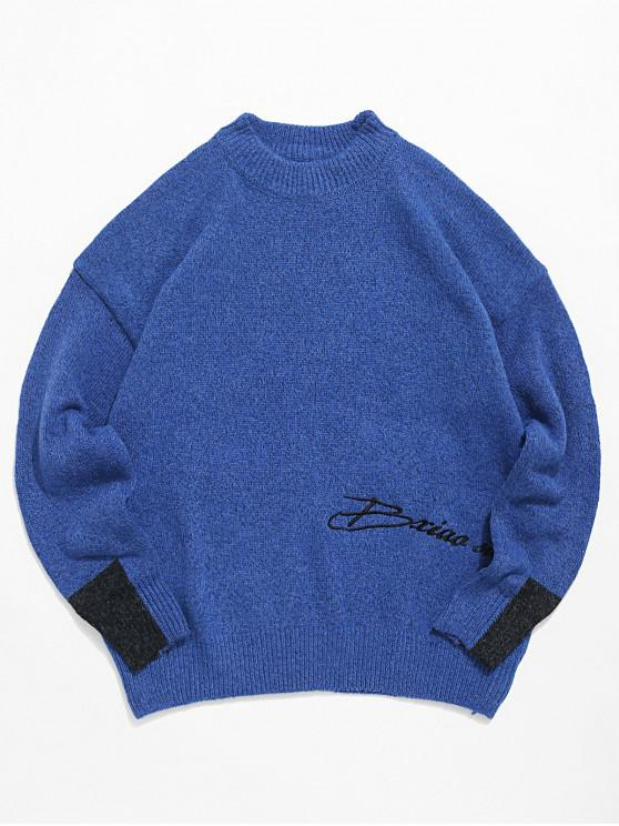 trendy Casual Letter Pattern Colorblock Sweater - BLUE M
