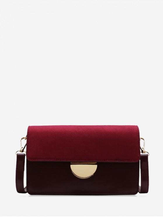 chic Simple Semicircle Buckle Square Crossbody Bag - RED