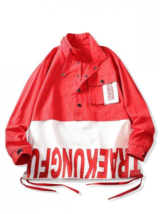 El bloqueo de color empalme Carta chaqueta de impresión Pullover - Rojo Lava 3XL