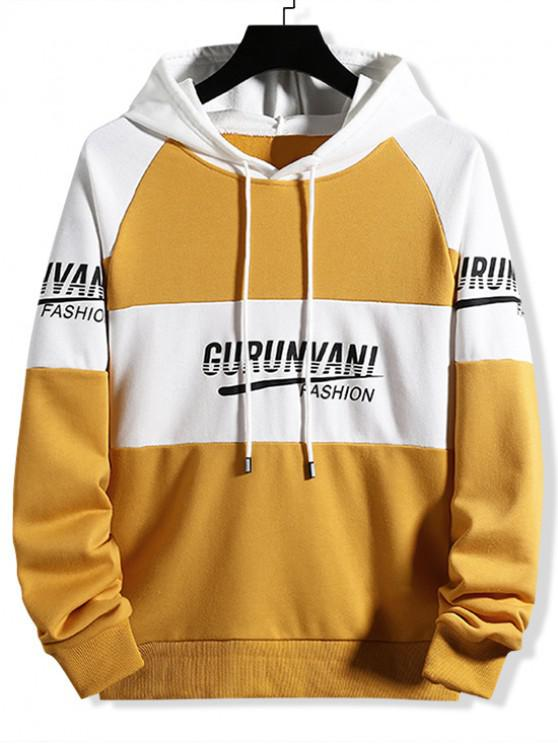 shops Colorblock Spliced Letter Graphic Drawstring Hoodie - GOLDEN BROWN L