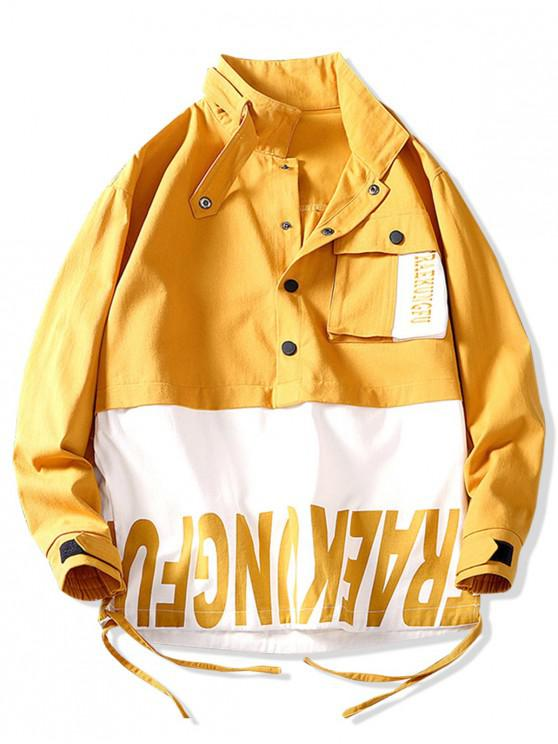 fancy Color Blocking Splicing Letter Print Pullover Jacket - RUBBER DUCKY YELLOW 3XL