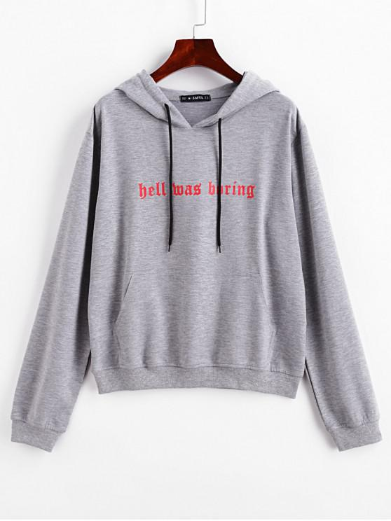 shop ZAFUL Front Pocket Letter Graphic Drawstring Hoodie - GRAY L