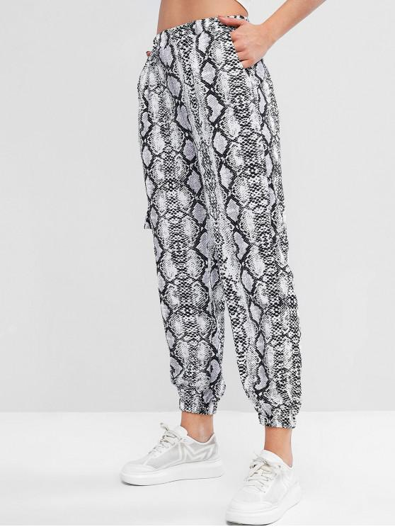 affordable Snakeskin Print High Waist Jogger Pants - MULTI-B XL