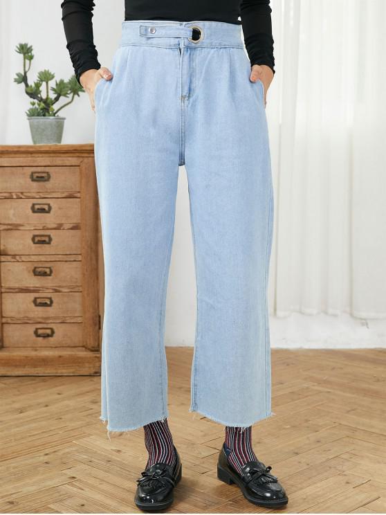 fashion Pockets High Waisted Frayed Hem Wide Leg Jeans - DENIM BLUE S