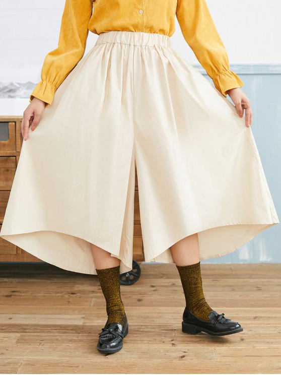 best Asymmetrical Hem Pocket Oversized Wide Leg Pants - BEIGE ONE SIZE