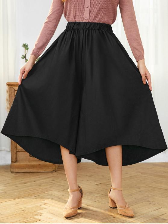 shops Asymmetrical Hem Pocket Oversized Wide Leg Pants - BLACK ONE SIZE