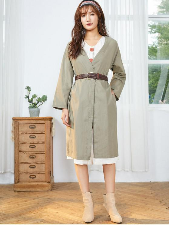 fashion Slip Pockets Duster Coat - DARK KHAKI XL